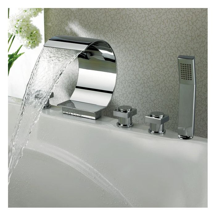 Triple Handle Deck Mounted Roman Tub Faucet With Diverter And Handshower Roman Tub Faucets Tub Faucet Waterfall Tub Faucet