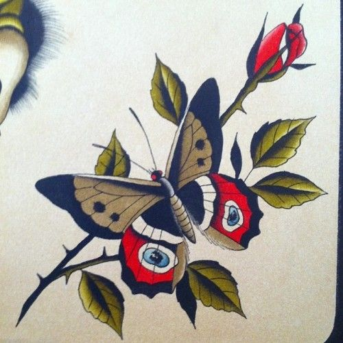 Traditional Butterfly Tattoo Flash: Traditional Butterfly Tattoo Flash Max Brain #maxbrain