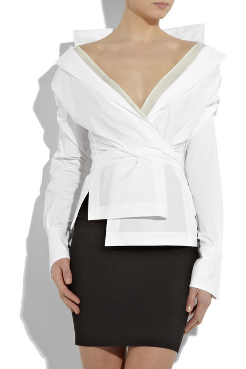 Formal White Blouses | White stretch cotton-blend long-sleeve wrap ...
