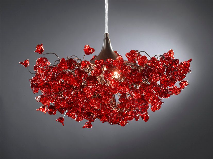 Lampadari Plafoniere Rosse : Red light fixture hanging ceiling ligth with flowers for