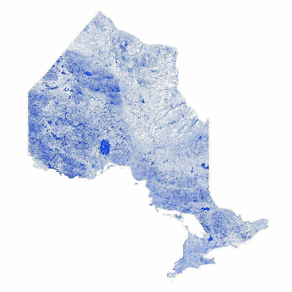 Toronto Canada Water Map The Canadian province of #Ontario mapped only by rivers streams