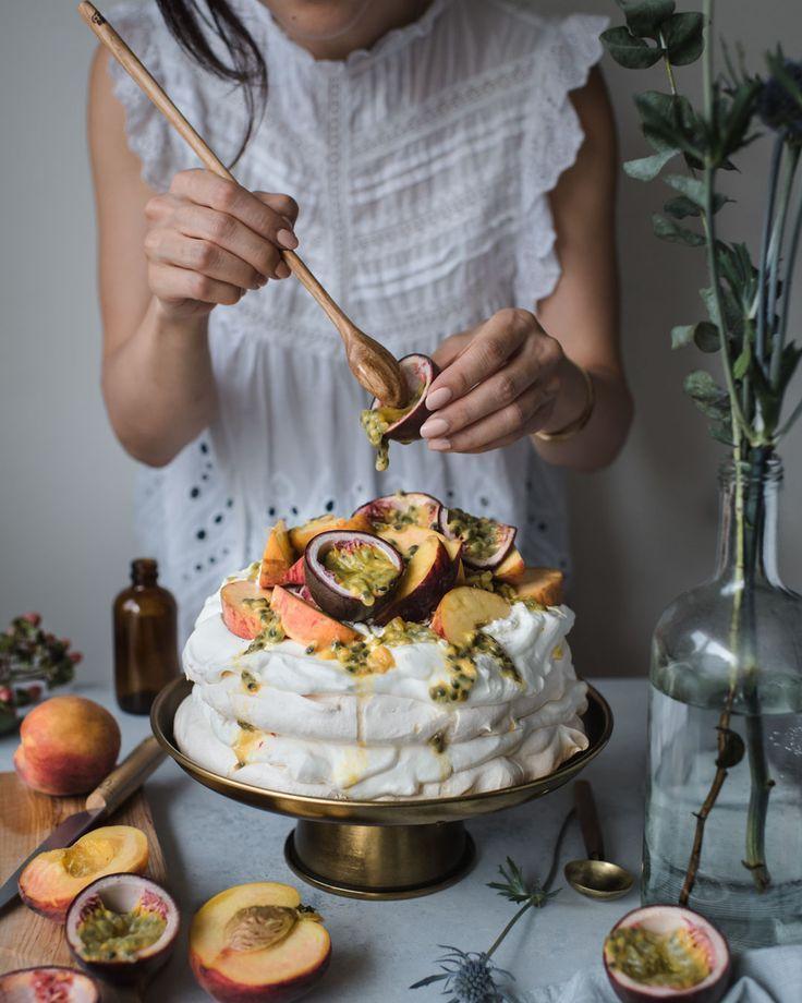 Peach + Passionfruit Pavlova { gluten-free } — saltnpepperhere