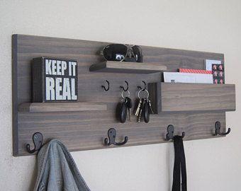 Entryway Organizer With Storage Shelves Key Hooks Coat Hooks And Mail  Pocket Back To School Backpack Hooks Hallway Coat And Key Rack