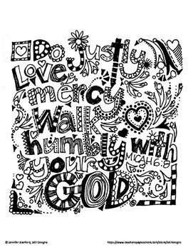 Love Mercy Walk Humbly With Your God Micah 68 Coloring Page