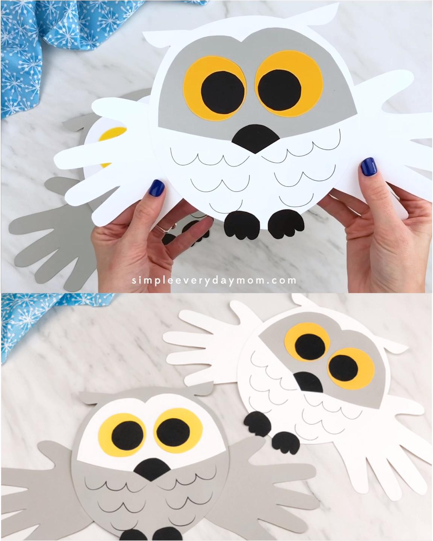 Handprint Snowy Owl Craft For Kids Free Template Video Video Owl Crafts Preschool Crafts Snowy Owl Craft