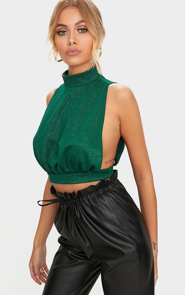 248a7a01e16 Emerald Green High Neck Open Back Crop Top | aa in 2019 | Emerald ...