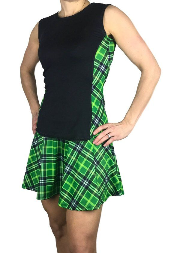 a03c47ef8 Green Plaid Women's Athletic Outfit- Athletic Oufit, Running Outfit, Golf  Apparel, Tennis Outfit Ski