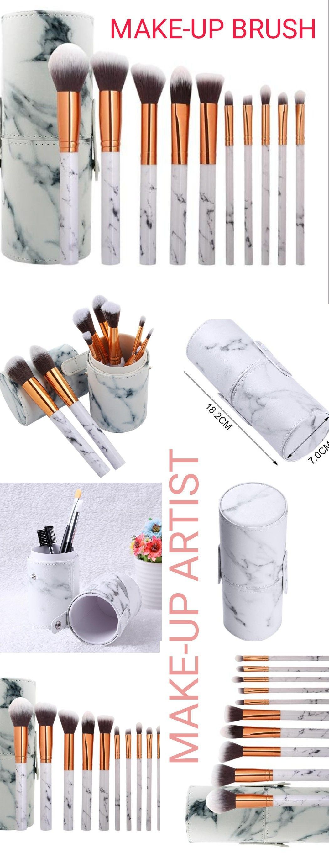 Makeup storage Brushes 10pcs Travel PU Marbling Makeup