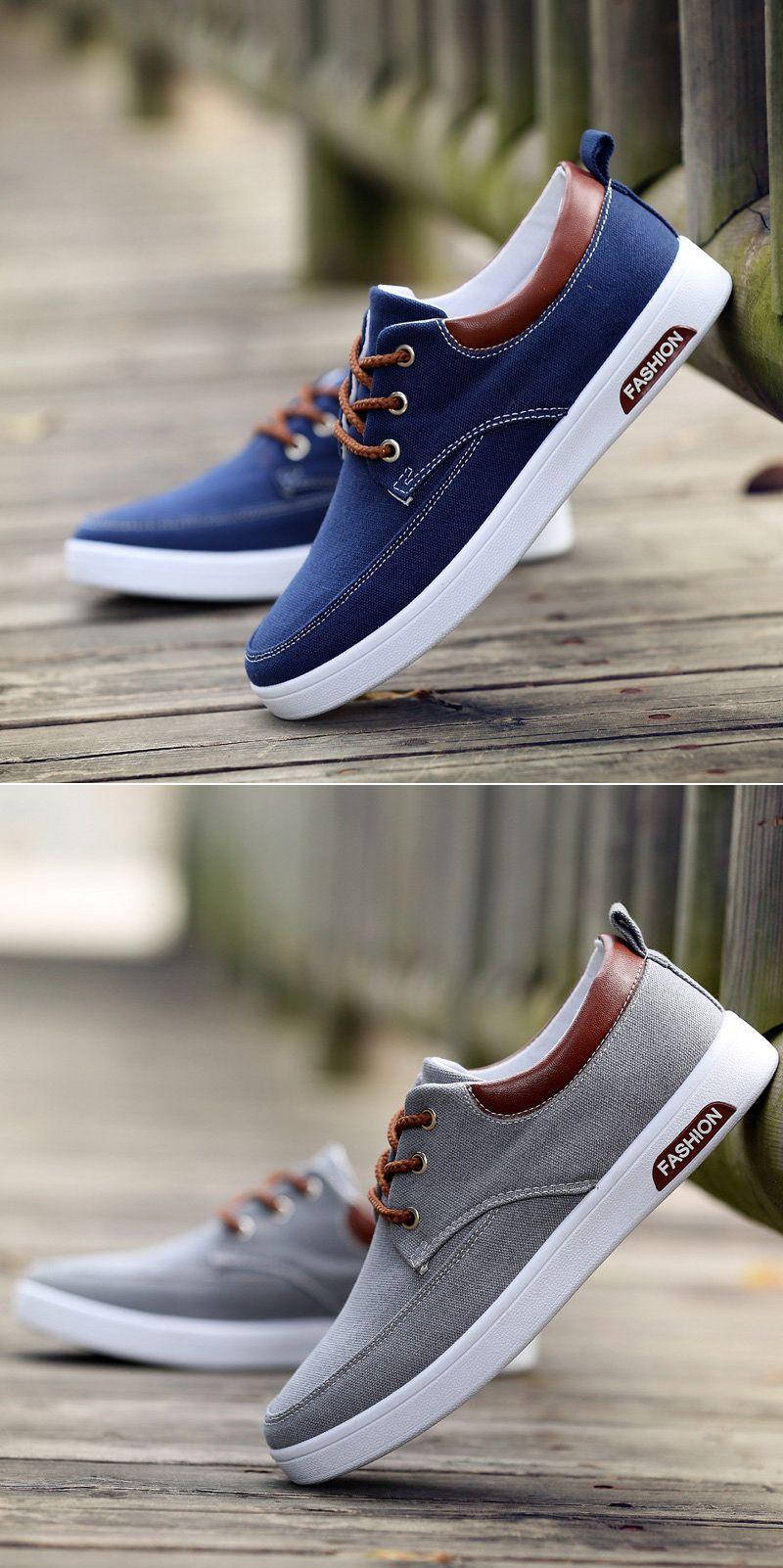 Men Canvas Pure Color Breathable Skateboarding Shoes Lace Up