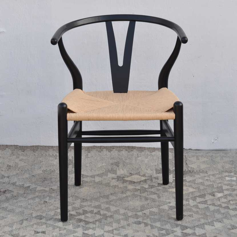 Danish Modern Black Dining Chair With Woven Seat Black