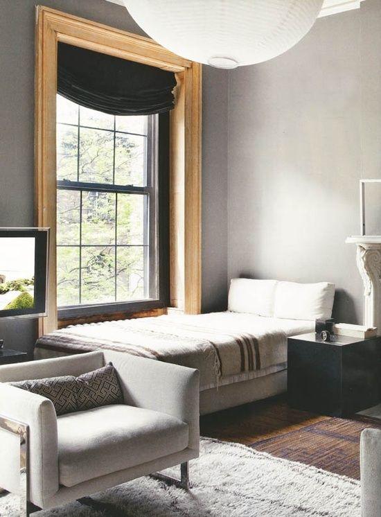Love The Big Raw Wood Trim Around Windows Glows Against Gray Wall Paint
