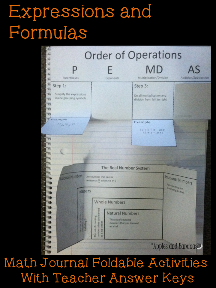 Expressions and Formulas foldable math activities with teacher ...