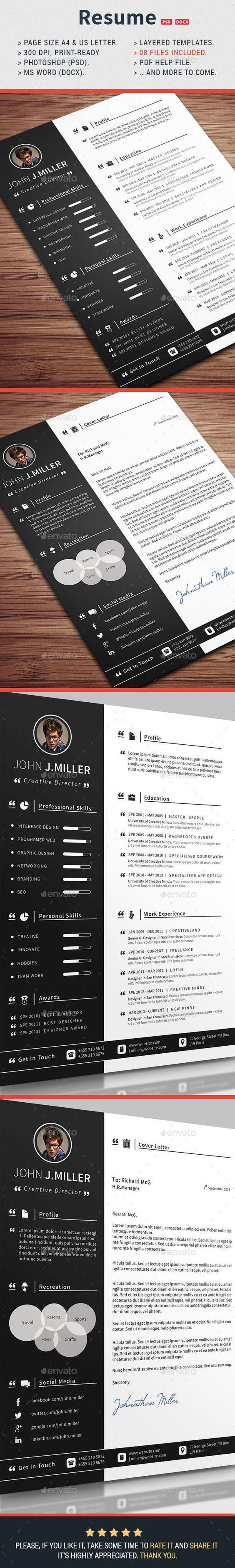 Resume Template #design Download: http://graphicriver.net/item ...