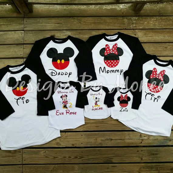 046e5e64a Customized Personalized Mickey Mouse Minnie Mouse Birthday Party Shirts for Mommy  Daddy Birthday Boy Birthday Girl Sister Brother Aunt Uncle