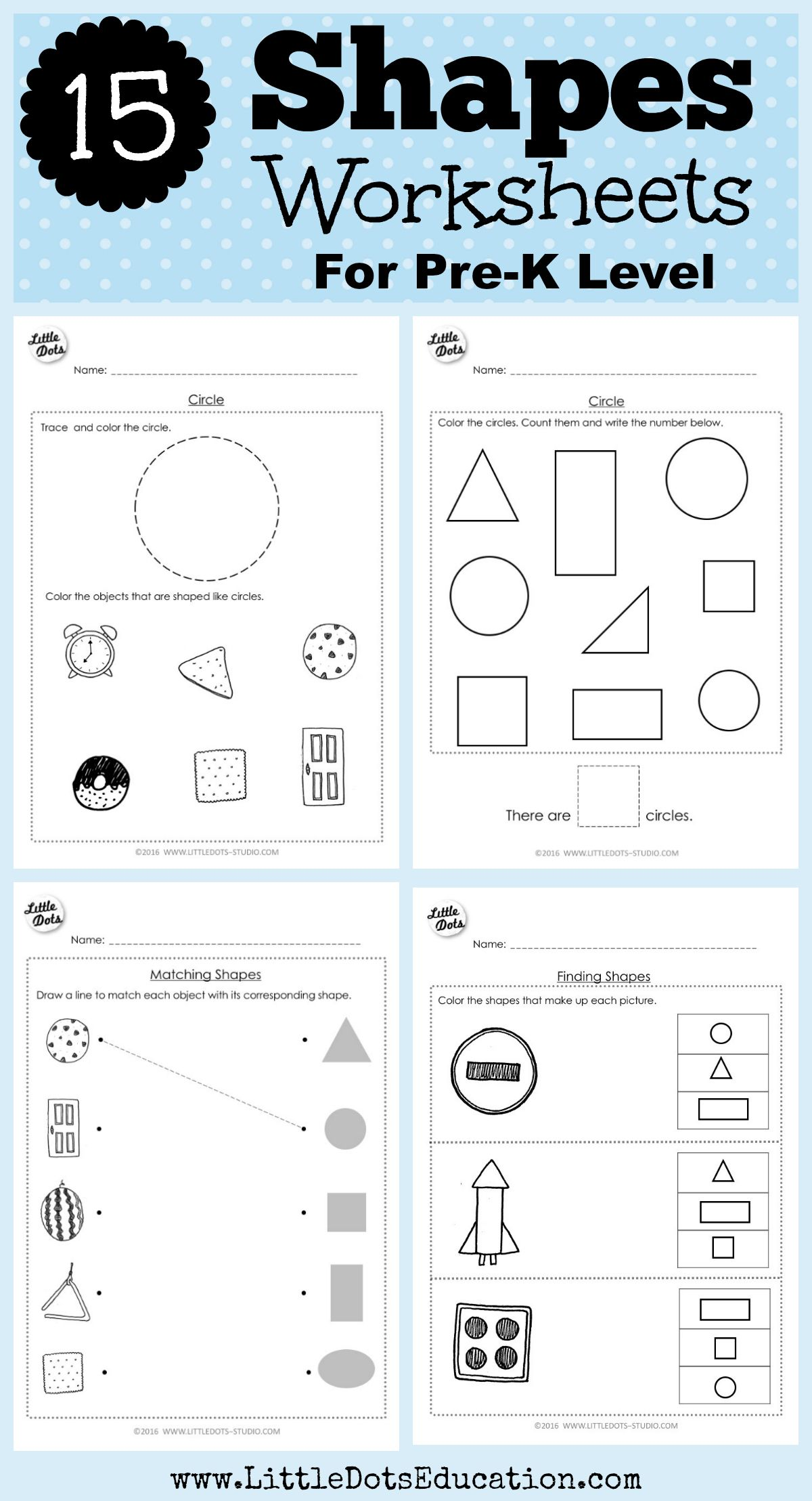 Download shapes worksheets for pre-k or preschool class on circle, square,  triangle