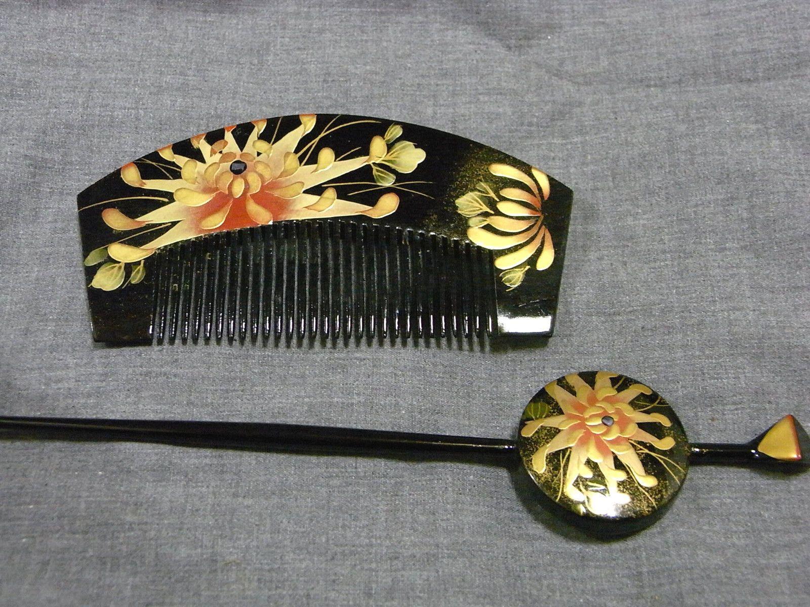 Japanese Gold and Black Hair Accessory Kanzashi Hairpin Kougai Set Chrysanth   eBay