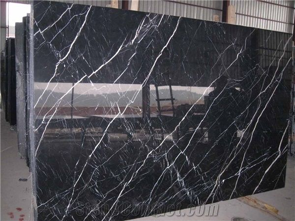 Nero Marquina Marble Slabs China Black Marble Shanxi