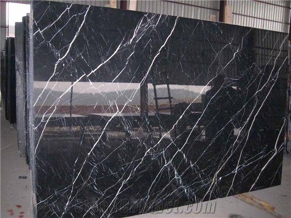 Nero Marquina Marble Slabs China Black Marble Shanxi