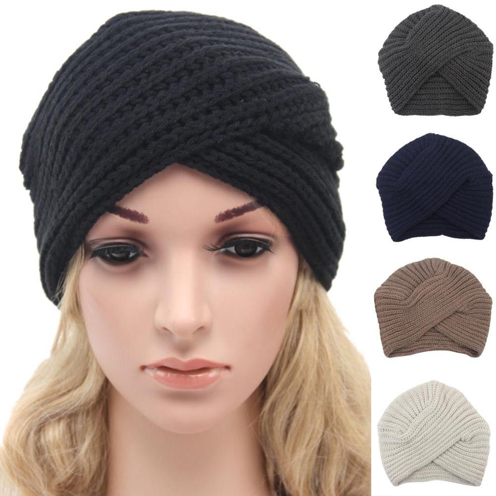 adf9d17223e Hot Women Knitted Turban Hat Head Cap Autumn Winter Keep Warm Cute Beanies