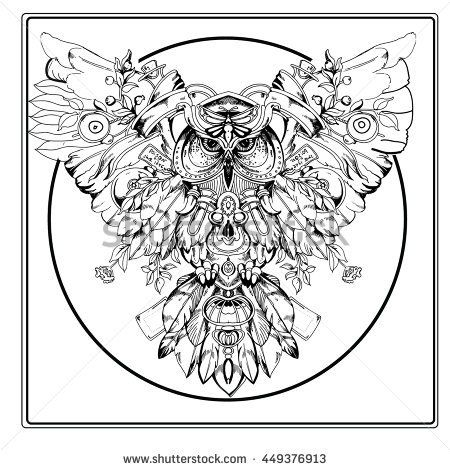Adult coloring book page. Owl sitting on the branch with mushrooms ...
