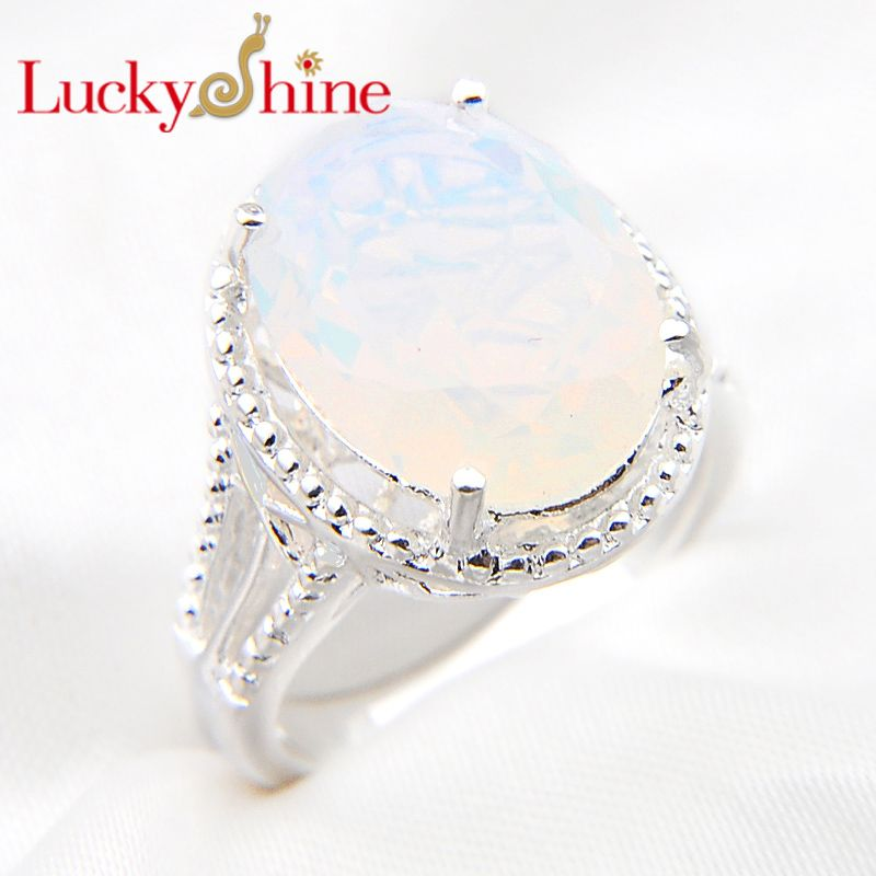 US $5.7 |Luckyshine Promotion Oval White Fire Opal Cubic Zirconia Silver Plated Wedding Rings Australia Russia USA Holiday Gift Rings| |   – AliExpress