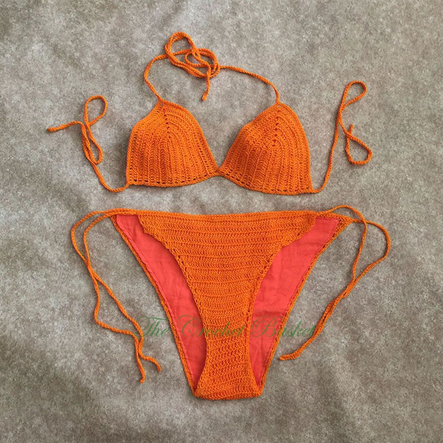 Crocheted Bikini Swimsuit In Thread With Bright Orange Color Size