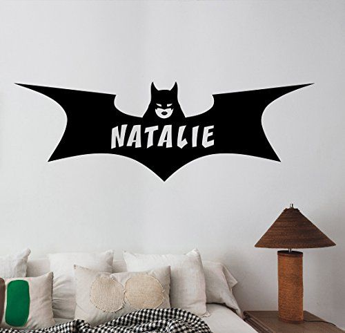 Personalized name batgirl logo wall decal custom sticker dc comics superhero vinyl art decorations for home