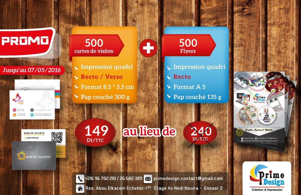 Promo 500 Cartes De Visites R V Flyers Recto 149 DT Au