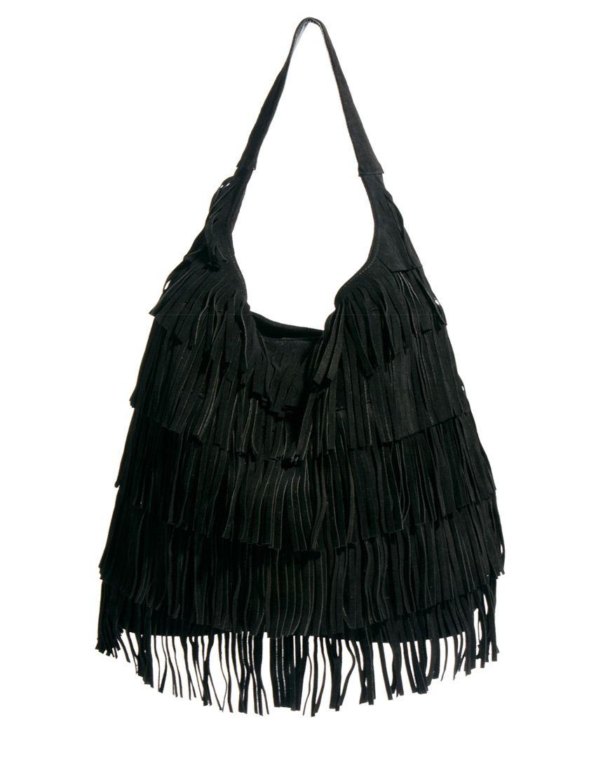 Asos Leather Fringe Hobo Bag