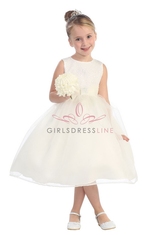 Ivory Classic Organza Girl Dress with Brilliant Sparkles T5542-IV T5542-IV $61.95 on www.GirlsDressLine.Com
