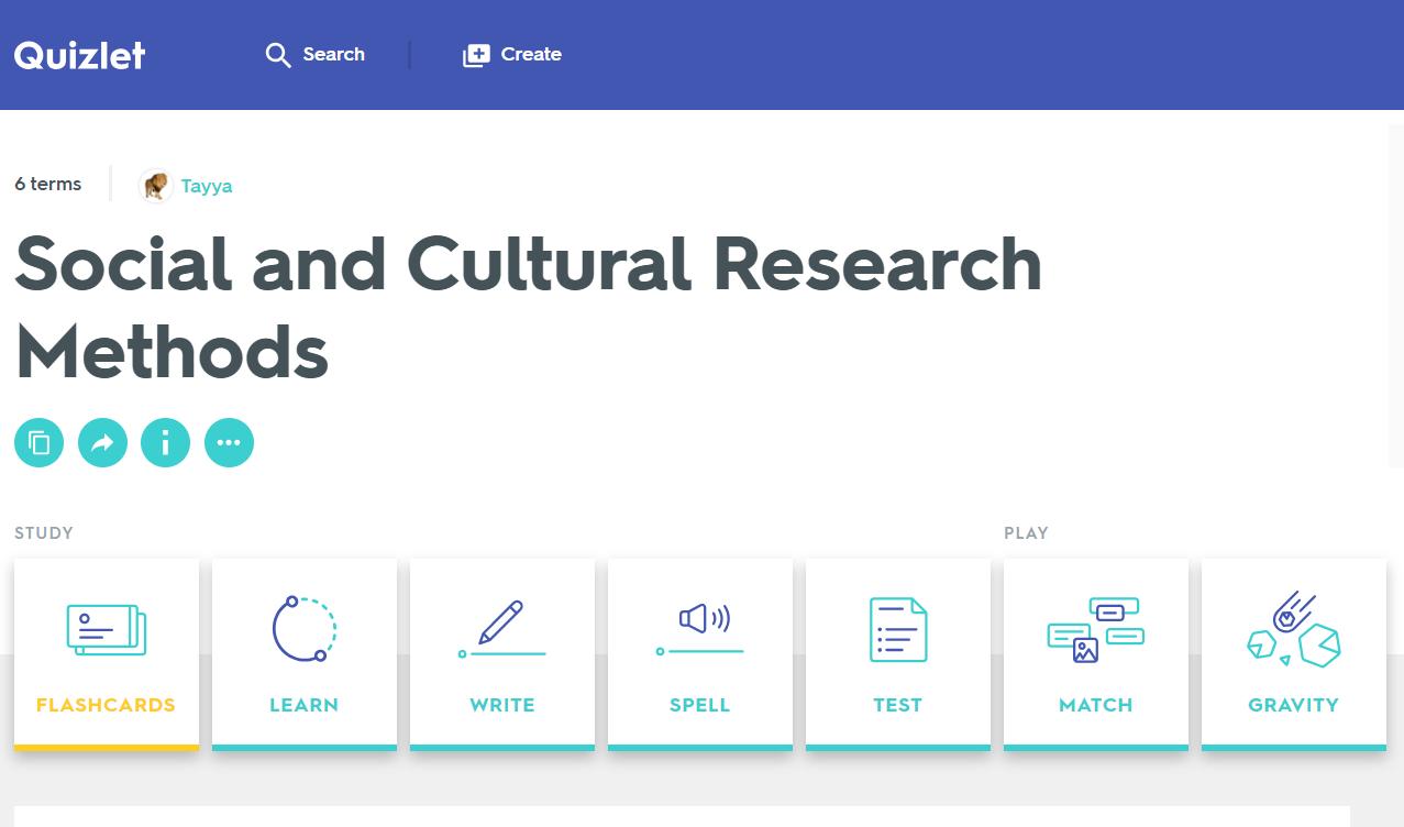 Quizlet: Social & Cultural Research Methods Includes
