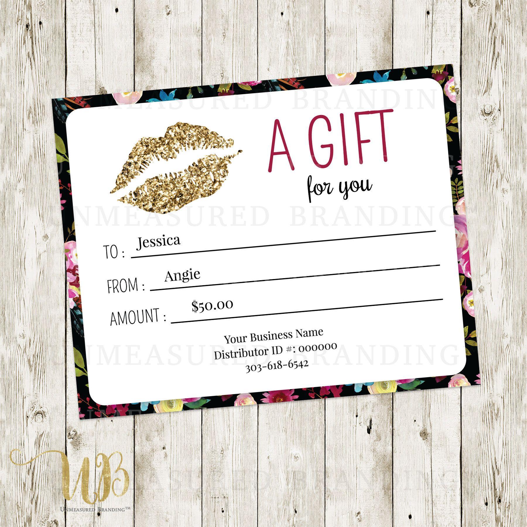 Floral|Black|Gold|Glitter|LipSense Gift Certificate|LipSense Gift ...