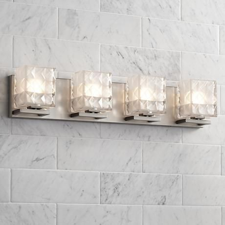 Possini Euro Quilt 4 Light 27 Wide Satin Nickel Bath Light 60