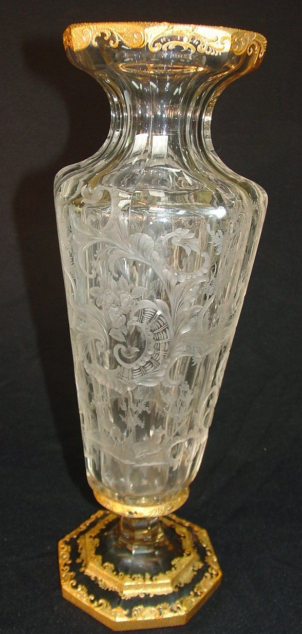 223 Signed Moser Cut Glass Vase With Deer And Foliage On Antique