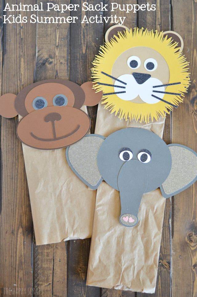 DIY Animal Paper Sack Puppets Kids Summer Activity