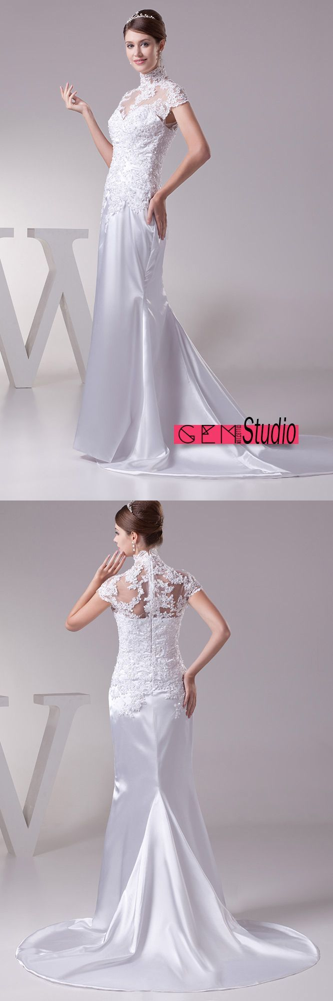 Long halter lace cap sleeves sleek satin mermaid wedding dress