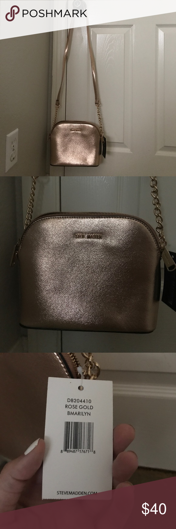39400521ec NWT STEVE MADDEN ROSE GOLD CROSSBODY PURSE Brand new with tag. Rose gold.  Style is called 'bmarilyn.' Gold chain accent. Steve Madden Bags Crossbody  Bags