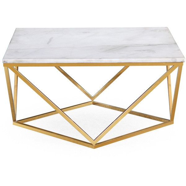 Marble Gold Cocktail Coffee Table 540 liked on Polyvore