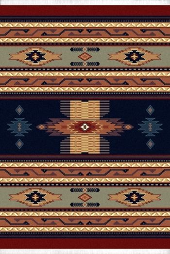 Southwestern Navy Blue Native American Carpet Rustic Lodge Striped Area Rug