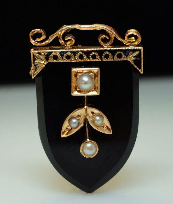 Antique 1920's Mabe Pearl & Onyx Pendant by JamieKatesJewelry, $200.00