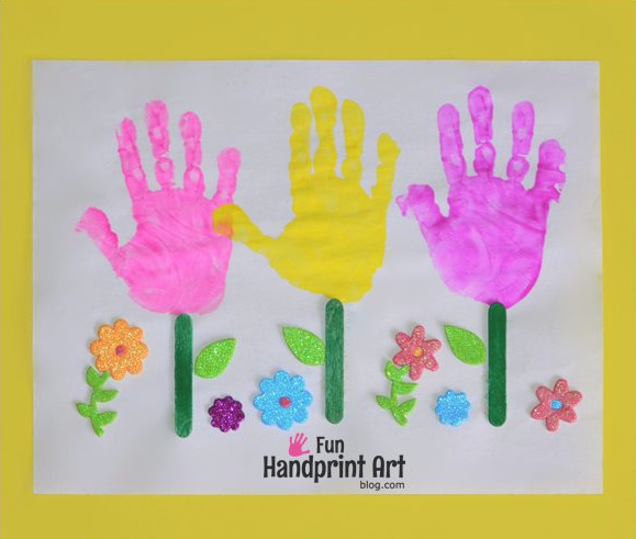 Cheerful Handprint Flowers Garden | You will have the biggest smile on your face when you behold this happy little garden featuring your kids' handprints.