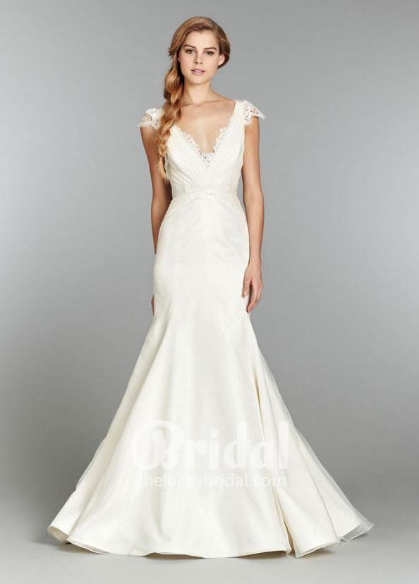 Embroidered Cap Sleeve V Neck Pleated Lace Mermaid Wedding Dress ...