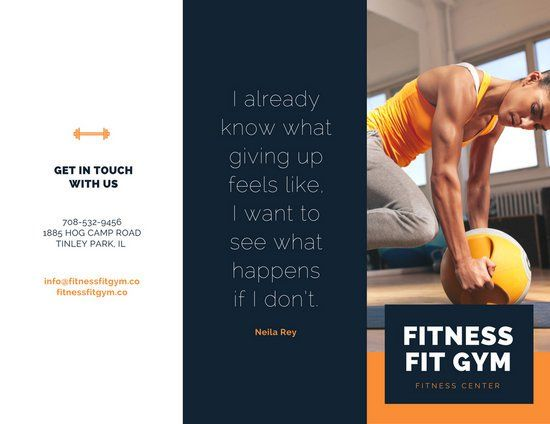 Navy Blue And Orange Fitness Tri Fold Brochure Brochure Tool Design Fitness