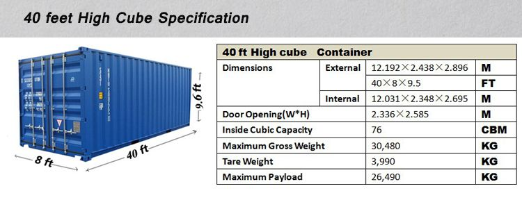 40 Length Feet And Dry Container Type 40ft High Cube Container Container Dimensions 40ft Container 40ft Container Dimensions