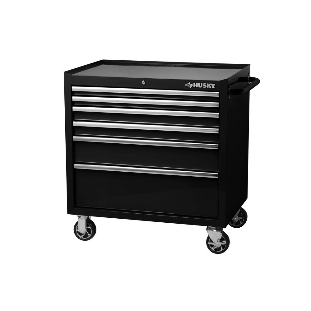 Husky 36 In W 6 Drawer Deep Tool Chest Cabinet In Gloss Black H36tr6xd The Home Depot Tool Chest Tool Storage Tool Cabinet