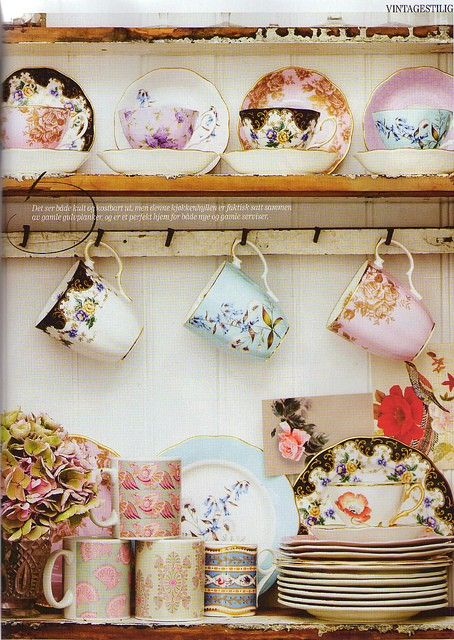 I love to arrange mismatched china and teacups in my guesthouses