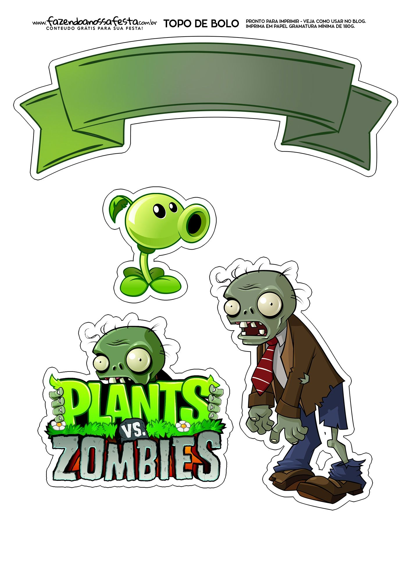 Topo De Bolo Plants Vs Zombies Zombies Festa Zumbi Topo De Bolo