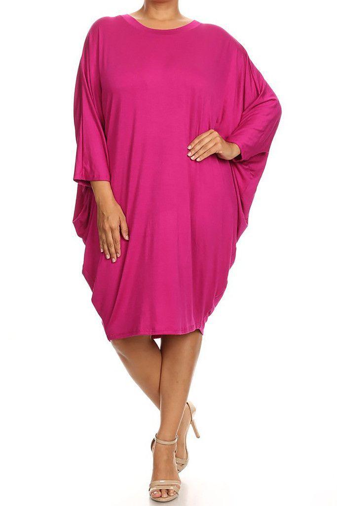 Plus Size Midi Dress Women's Tunic Bubble 3/4 Dolman Sleeves Midi Dress