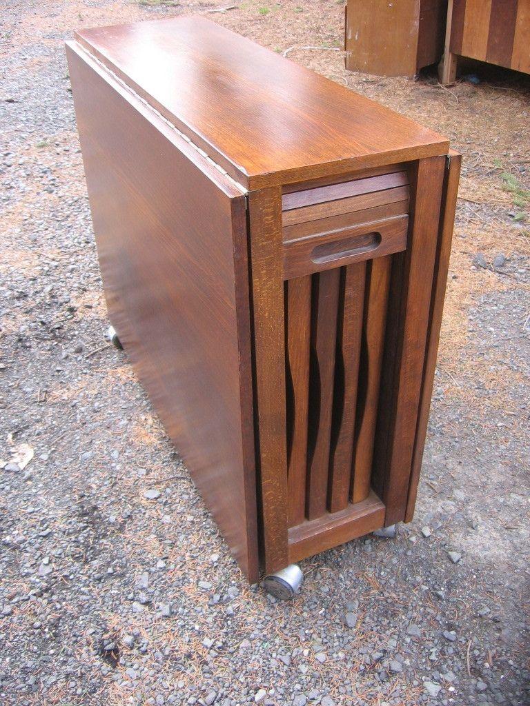 Skinny Drop Leaf Dining Table W 4 Hideaway Wood C Wood
