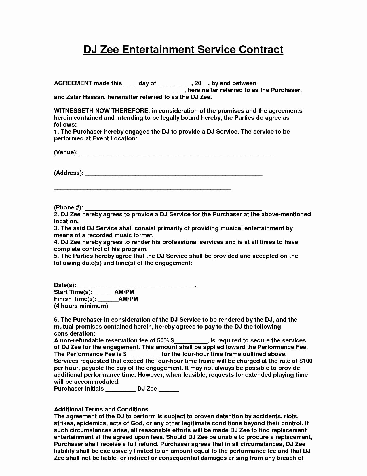 Free Dj Contract Template Lovely Entertainment Contract Agreement Images D J Contracts Contract Template Doctors Note Template Contract Agreement